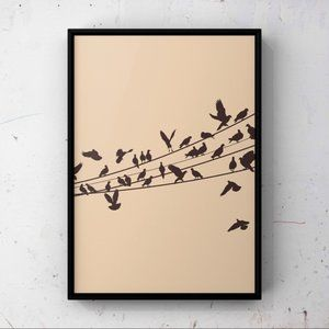 Modern minimalist group of bird abstract art print